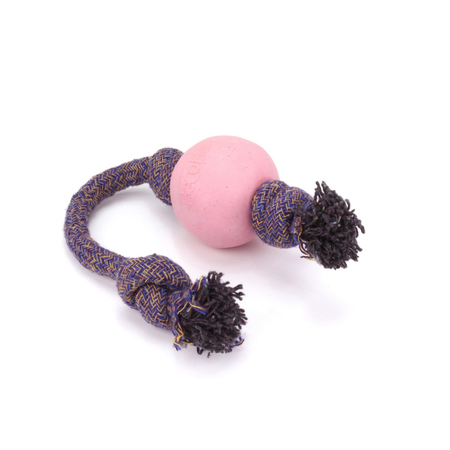 BecoThings Ball with Rope Eco Friendly Dog Toy Pink Large (50cm)