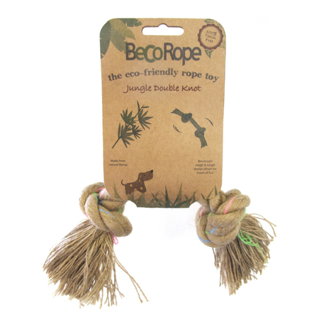 BecoThings Jungle Double Knot Rope Eco Friendly Dog Toy Natural Medium (25cm)