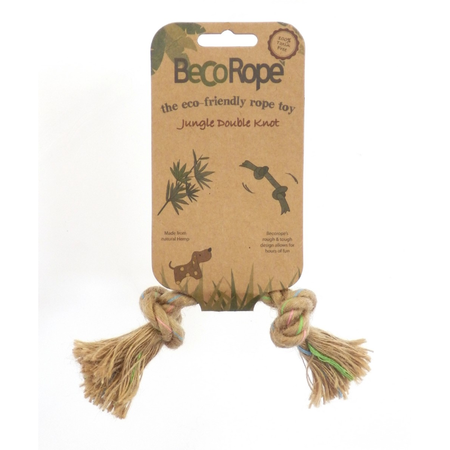 BecoThings Jungle Double Knot Rope Eco Friendly Dog Toy Natural Small (15cm)