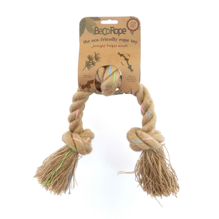 BecoThings Jungle Triple Knot Rope Eco Friendly Dog Toy Natural Large (45cm)