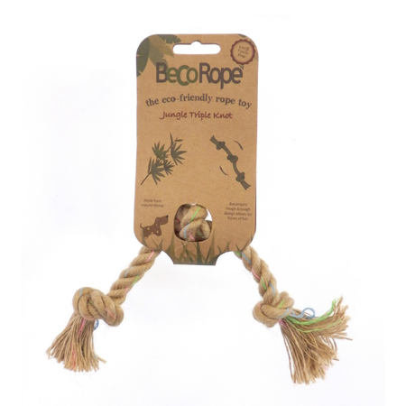 BecoThings Jungle Triple Knot Rope Eco Friendly Dog Toy Natural Small (25cm)
