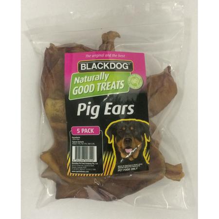 Black Dog Pigs Ears Dog Treat  5pk