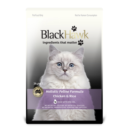 Black Hawk Adult Chicken and Rice Dry Cat Food  3kg