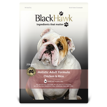 Black Hawk Adult Chicken and Rice Dry Dog Food  20kg