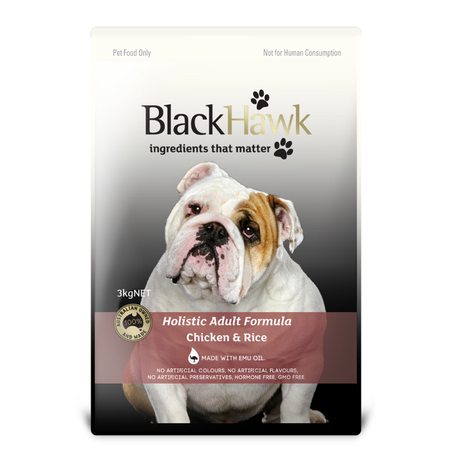 Black Hawk Adult Chicken and Rice Dry Dog Food  3kg