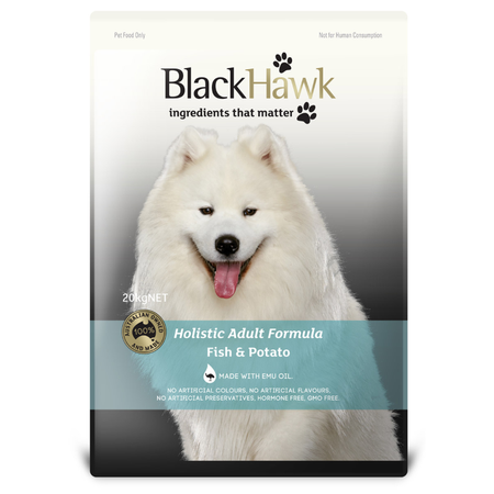 Black Hawk Adult Fish and Potato Dry Dog Food  20kg