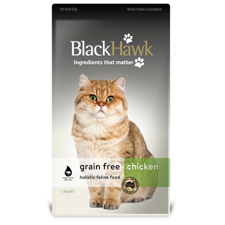 Black Hawk Adult Grain Free Chicken Dry Cat Food  1.5kg
