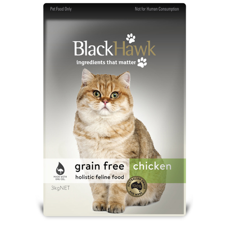 Black Hawk Adult Grain Free Chicken Dry Cat Food  3kg