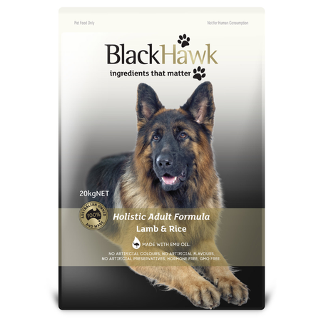 Black Hawk Adult Lamb and Rice Dry Dog Food  20kg