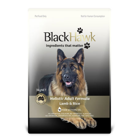 Black Hawk Adult Lamb and Rice Dry Dog Food  3kg