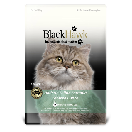 Black Hawk Adult Seafood and Rice Dry Cat Food  1.5kg