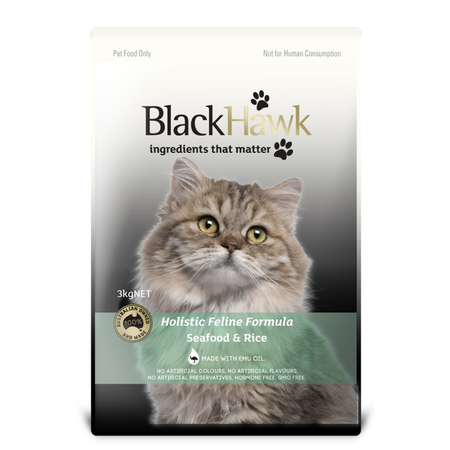 Black Hawk Adult Seafood and Rice Dry Cat Food  3kg