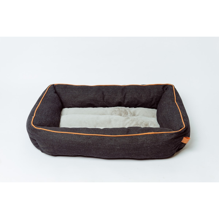 Buddy & Belle Bolster Bed Black Denim Large