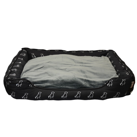 Buddy & Belle Bolster Dog Bed Black Medium (80cmx60cmx17cm)