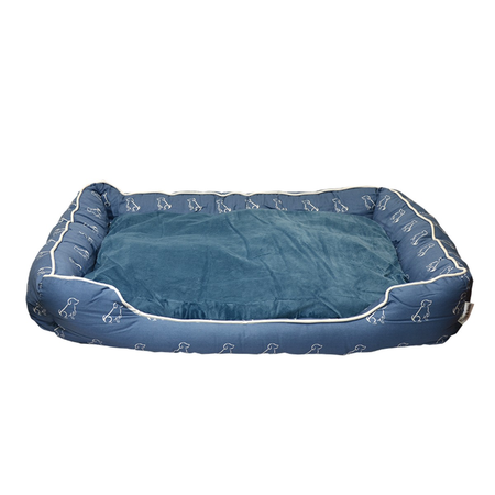 Buddy & Belle Bolster Dog Bed Blue Large (90cmx70cmx17cm)