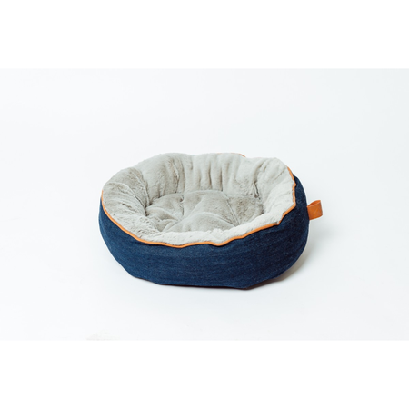 Buddy & Belle Cat Circular Fleece Bed Blue Denim