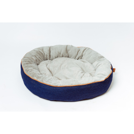 Buddy & Belle Circular Fleece Bed Blue Denim Medium