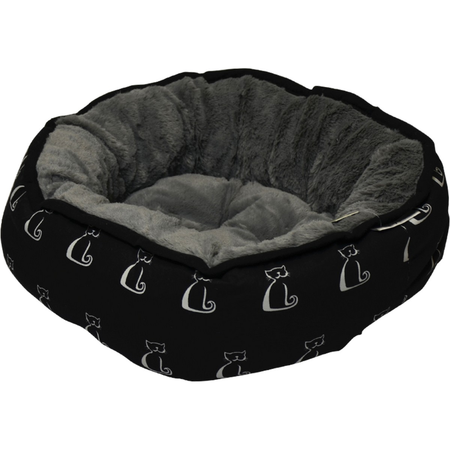 Buddy & Belle Round Cat Bed Black