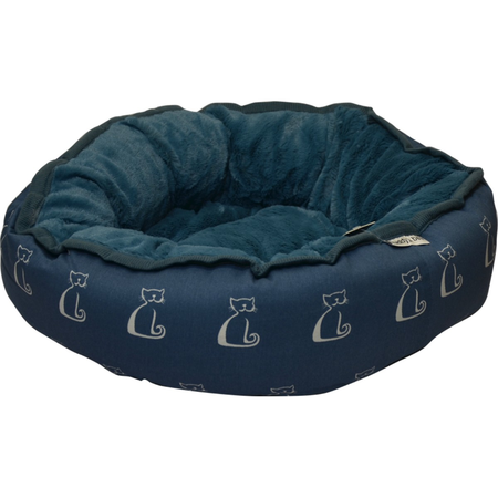 Buddy & Belle Round Cat Bed Blue