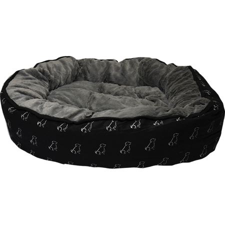 Buddy & Belle Round Fleece Dog Bed Black Large (80cmx75cm)