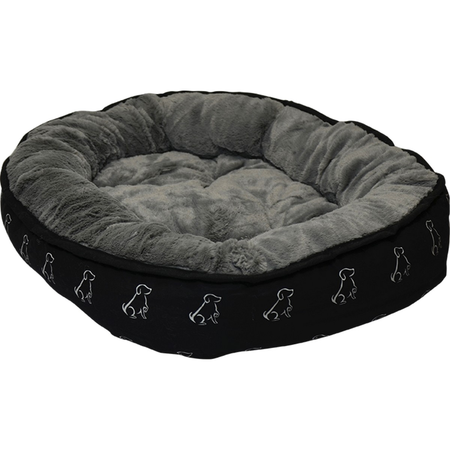 Buddy & Belle Round Fleece Dog Bed Black Small (65cmx45cm)