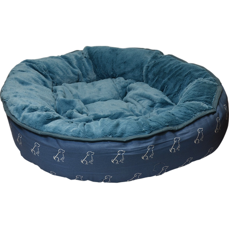 Buddy & Belle Round Fleece Dog Bed Blue Medium (74cmx65cm)
