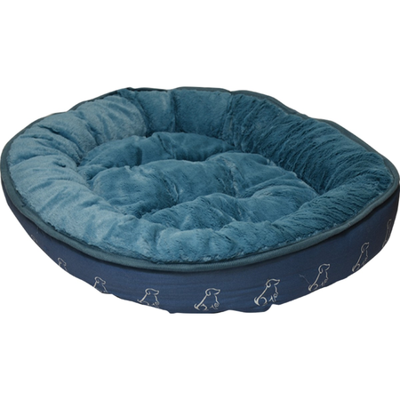 Buddy & Belle Round Fleece Dog Bed Blue Small (65cmx45cm)