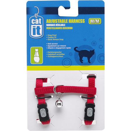 Catit Nylon Adjustable Cat Harness Red Large