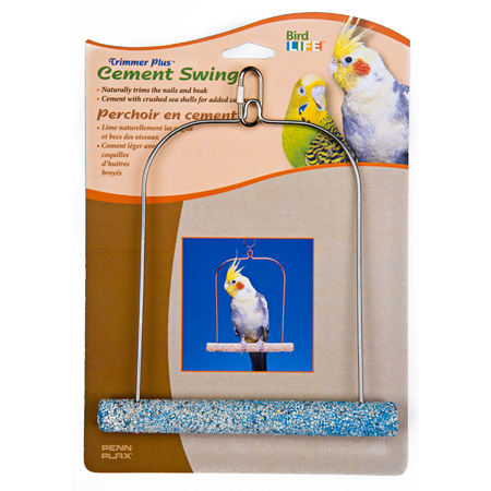 Cement Bird Swing with Wire Frame 7in