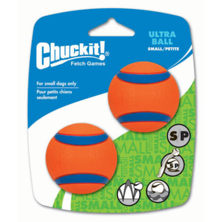 Chuckit Ultra Rubber Ball Dog Toy 2 Pack Orange Small