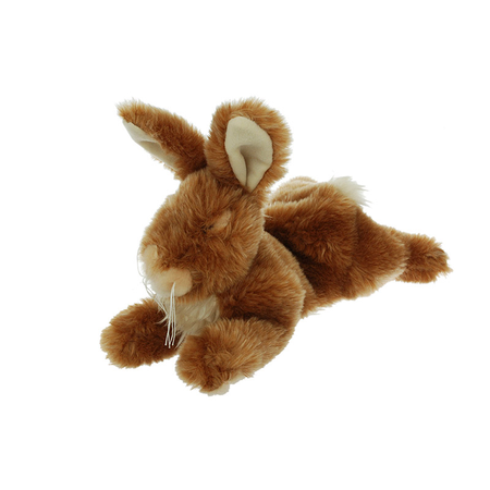 Cuddles Squeaky Plush Rabbit Dog Toy Brown Small (20cm)