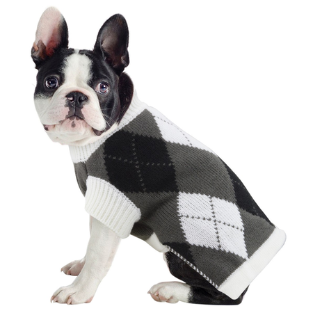 DGG Black and White Argyle Knitted Dog Jumper Multi Large (47cm)