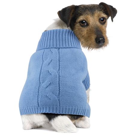 DGG Cable Knit Dog Jumper Blue Medium (37cm)