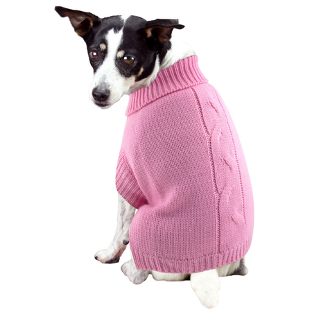 DGG Cable Knit Dog Jumper Pink Medium (37cm)