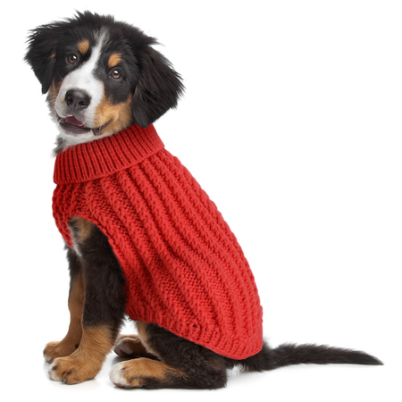 DGG Chunky Cable Dog Jumper Red Medium (37cm)