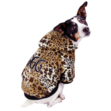 DGG Leopard Print Hoodie Dog Jumper Brown Large (47cm)