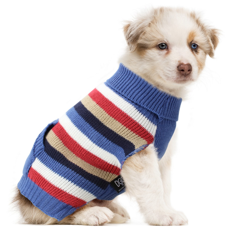 DGG Multi Striped Dog Jumper Blues Medium (37cm)