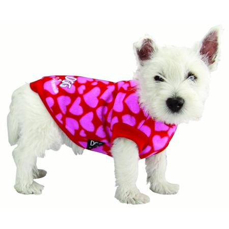 DGG -Pink Hearts Warmie Fleece Dog Jumper Pink Medium (37cm)