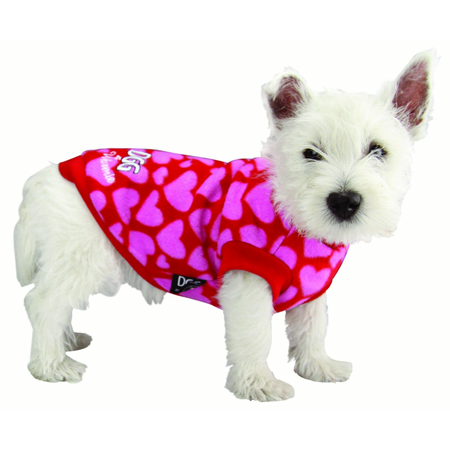 DGG -Pink Hearts Warmie - Fleece Dog Jumper