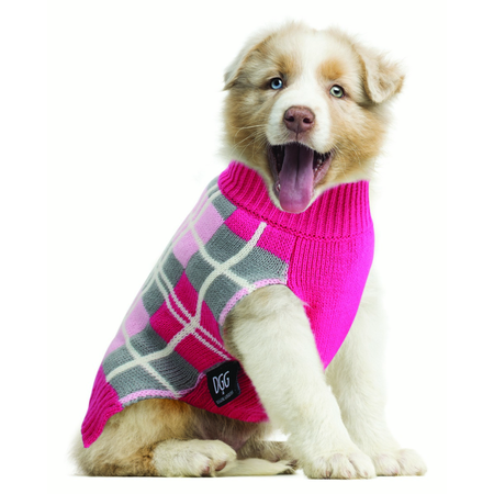 DGG Pink & Grey Argyle Dog Jumper Medium (37cm)