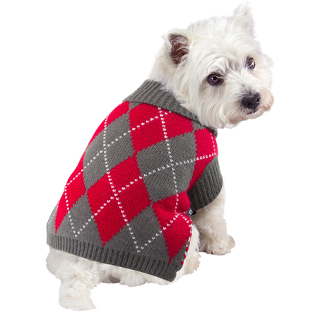 DGG Red and Grey Argyle Knitted Dog Jumper Multi Small (30cm)