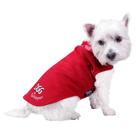 DGG Red with Hearts Dog Wrapper XS