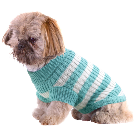 DGG Striped Knitted Dog Jumper Blue Medium (37cm)