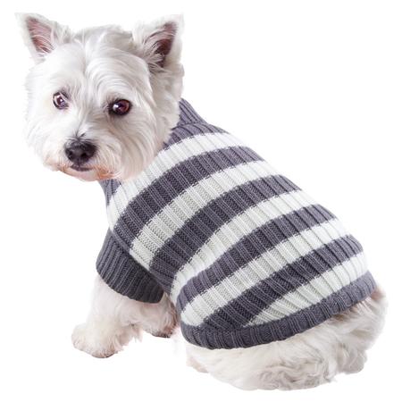 DGG Striped Knitted Dog Jumper Grey Medium (37cm)