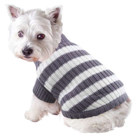 DGG Striped Knitted Dog Jumper Grey X Small (20cm)