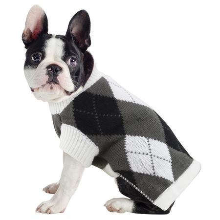 DGG - Black and White Argyle - Knitted Dog Jumper