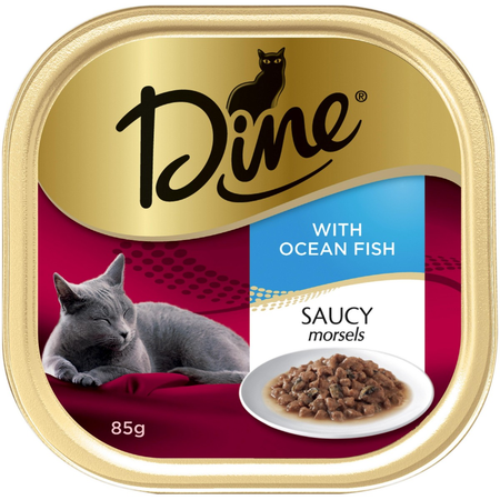 Dine Daily Variety Saucy Morsels with Ocean Fish Cat Food Tray  1x85g