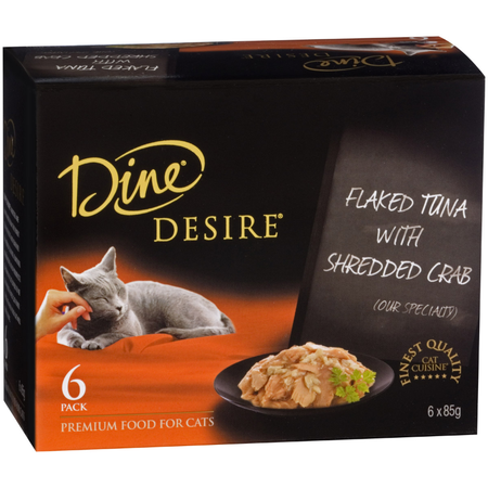 Dine Desire Flaked Tuna with Shredded Crab Canned Cat Food  6x85g