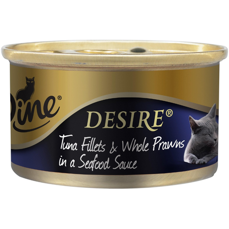 Dine Desire Tuna Fillets and Whole Prawns in a Seafood Sauce Canned Cat Food  1x85g
