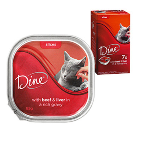 Dine - Daily Variety - Beef and Liver Cuts in Gravy - Cat Food Tray